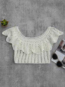 Crochet Cover Up Crop Top - White L