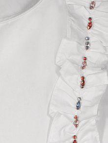 Mangas Rhinestone La De Tapa L Ruffle Sin Blanco qSw6x44EA