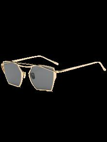 كامبرد معدن العارضة مرآة النظارات الهندسية - ذهب إطار أسود عدسة +