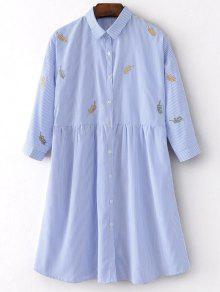 Las Rayas Bordadas Camisa De Vestir - Raya L