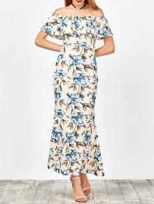 Off The Shoulder Floral Mermaid Dress - White L