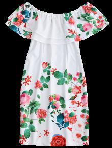 Vestido De Fuera Con Blanco Del Vaina Hombro S Volantes UAUwrq7pg