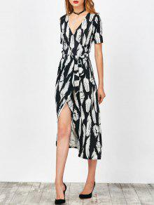 Feather Print Wrap Maxi Dress - Black S