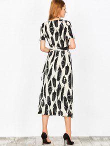 109857668fa 34% OFF  2019 Feather Print Wrap Maxi Dress In WHITE