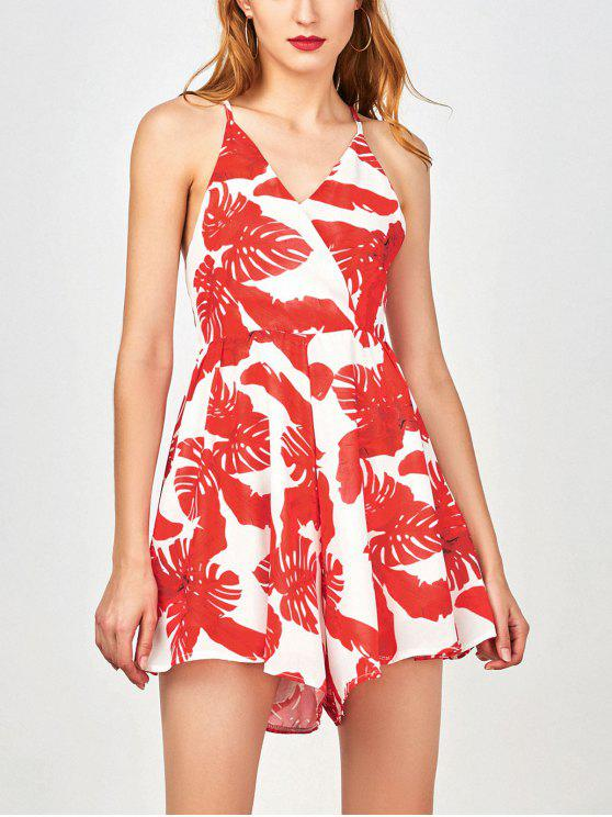 trendy Tropical Print Wide Leg Surplice Romper - RED M