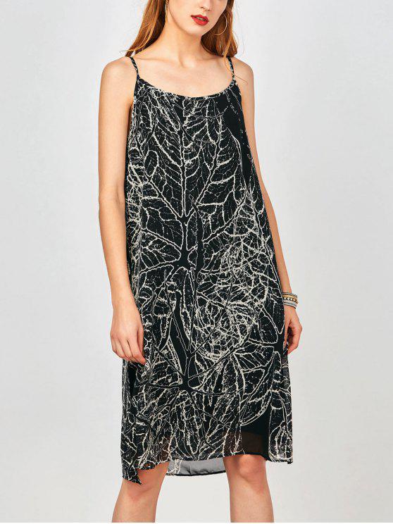Slip Imprimir hendidura lateral gasa vestido de fiesta - Negro L