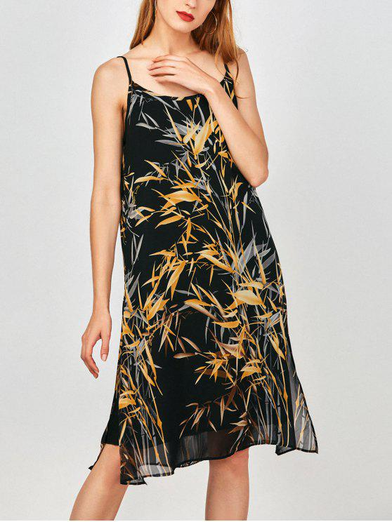 chic Slip Print Side Slit Chiffon Holiday Dress - EARTHY L