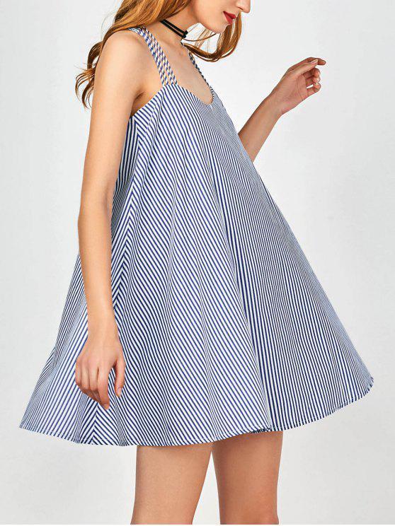 Vestido de Trapecio a Rayas con Multi-cordón - Azul y Blanco S