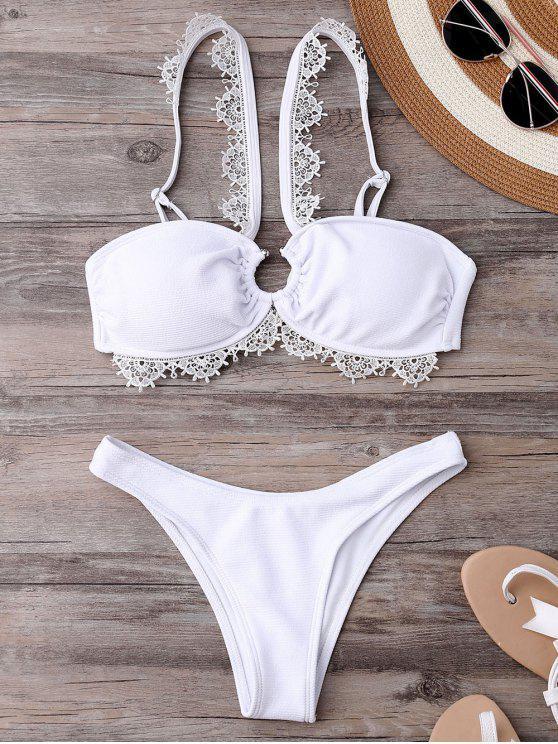 women Wedding Bride V Strap Bikini Set - WHITE L
