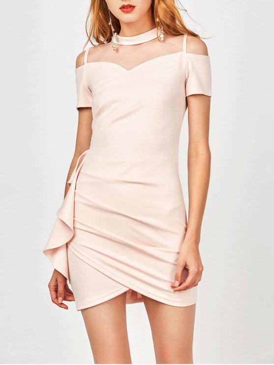 ladies Ruched Mesh Panel Ruffle Dress - SHALLOW PINK L
