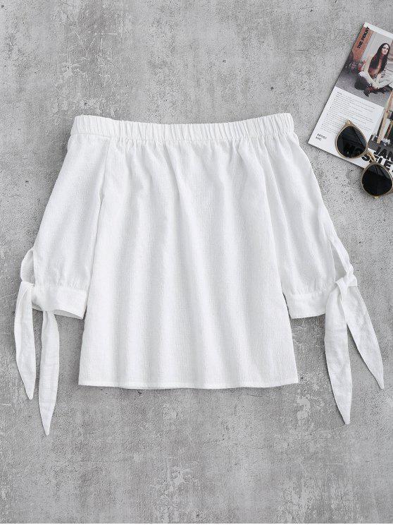 ladies Off Shoulder Tied Sleeve Blouse - WHITE M