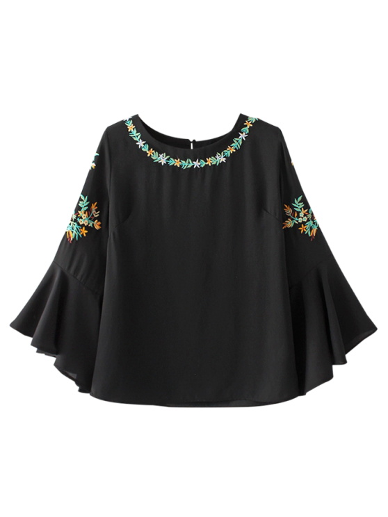 shop Flare Sleeve Embroidered Chiffon Blouse - BLACK L