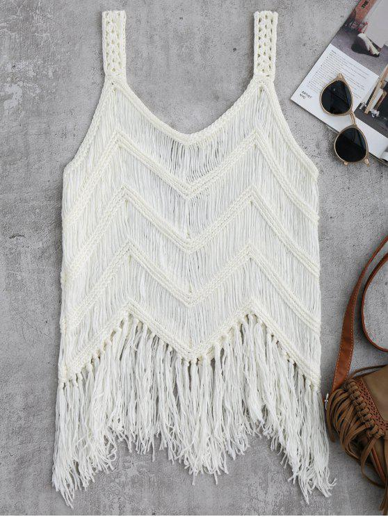 Crochet Tassels Cover Up Tank Top - Blanco M