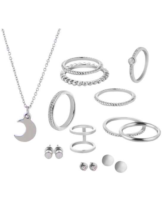 buy Rhinestone Circle Moon Jewelry Set - SILVER
