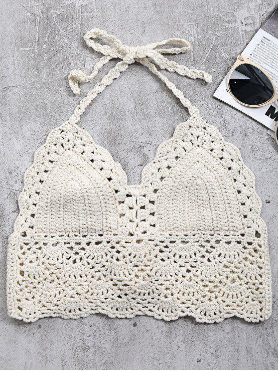 lady Crochet Back Tie Bralette Swim Top - OFF-WHITE ONE SIZE