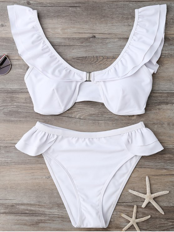 5fd347223906d 23% OFF  2019 Ruffles Scoop Neck Bathing Suit In WHITE