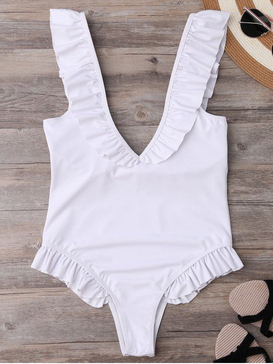 shops Plunging Neck Ruffle Strap Bride Swimsuit - WHITE S