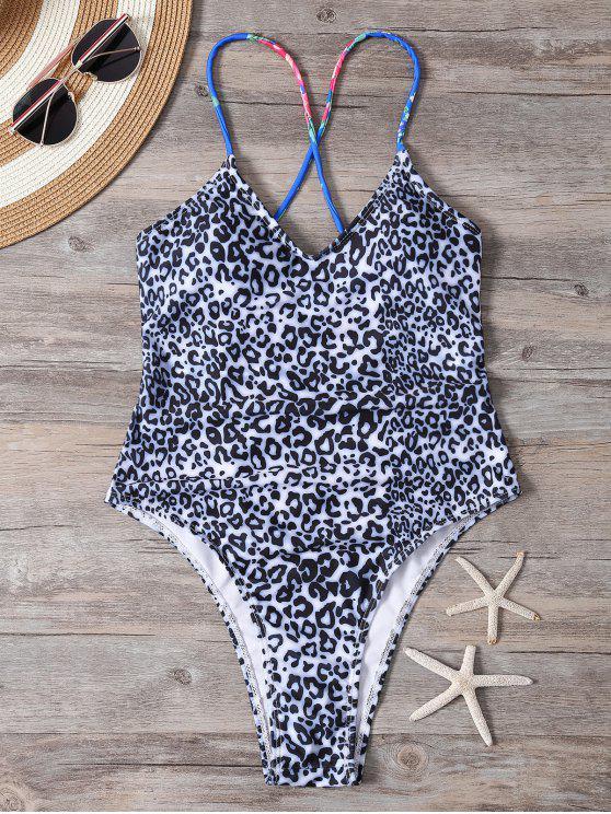Traje de baño de encaje de encaje con estampado de leopardo - Blanco y Negro M
