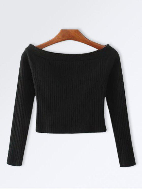 womens Knitted Ribbed Off The Shoulder Top - BLACK M