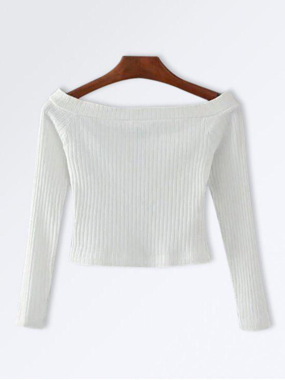 Knitted Ribbed Off The Shoulder Top - Blanc S