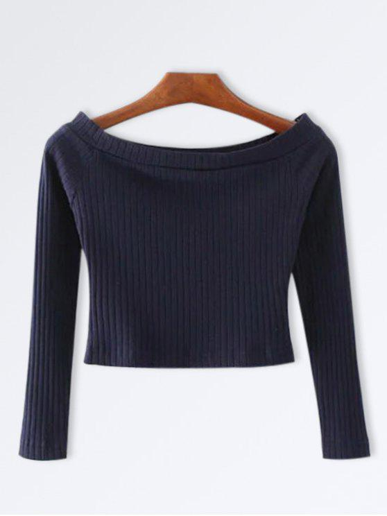 Knitted Ribbed Off The Shoulder Top - Bleu Cadette S