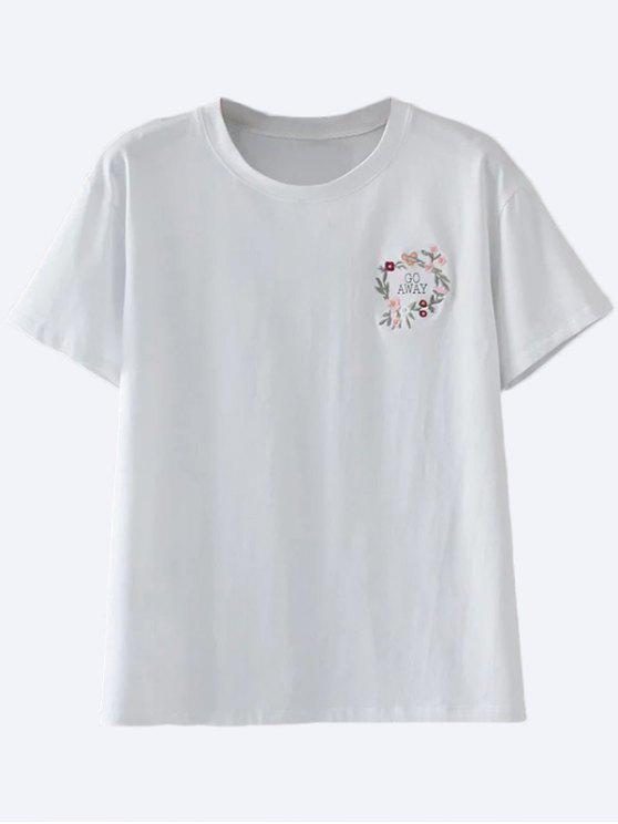 8768d2f15ebf7 16% OFF  2019 Cute Floral Embroidered T-Shirt In WHITE S