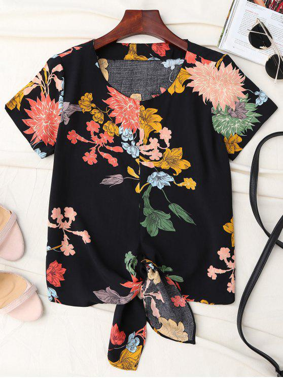 ladies Floral Knot Hem Top - BLACK M