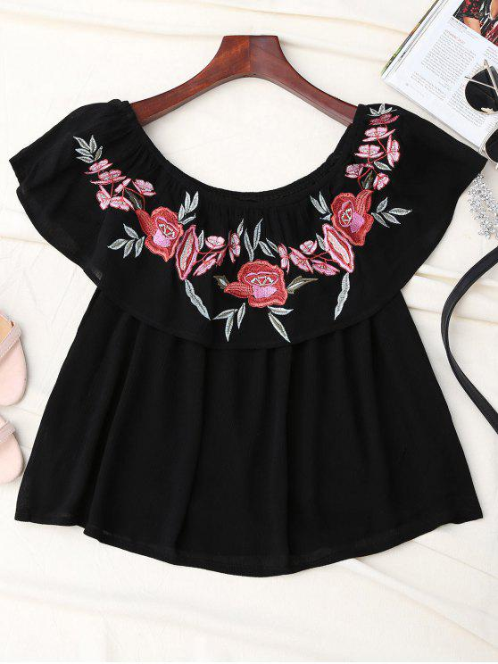 best Off Shoulder Ruffle Embroidered Blouse - BLACK S