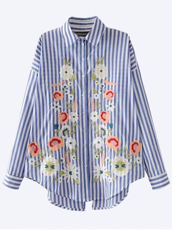 womens Floral Embroidered Back Slit Shirt - BLUE M