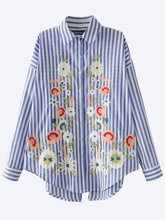 women Floral Embroidered Back Slit Shirt - BLUE S