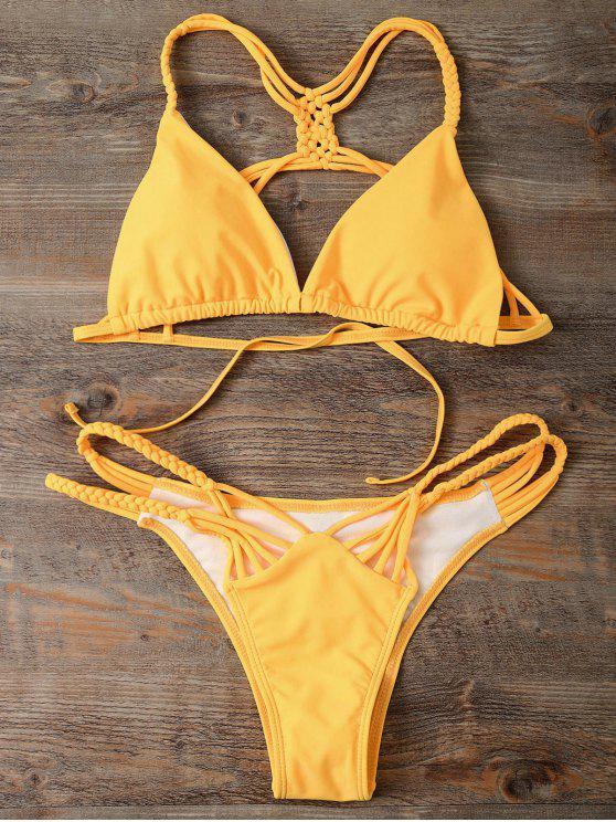 hot Strappy Cut Out Bikini Set - YELLOW M