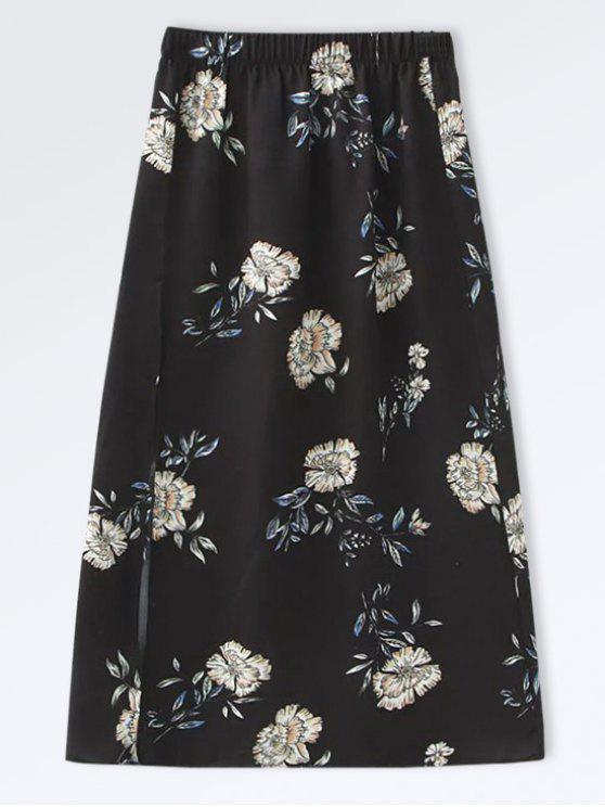 Falda Floral A-Line de Popeline - Negro M