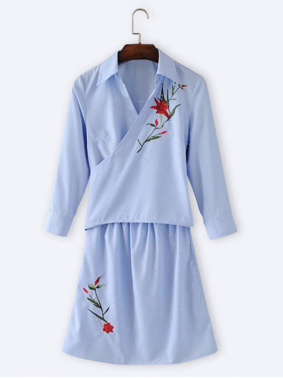 shop Floral Embroidered Stripes Long Sleeve Dress - LIGHT BLUE M