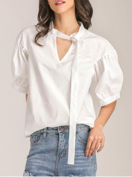 Übergroße Choker Cut Out Bluse - Weiß S