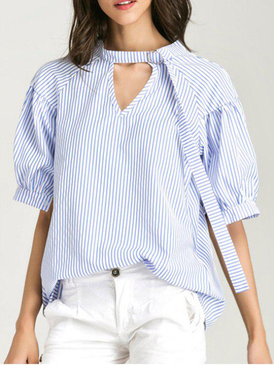 sale Oversized Choker Cut Out Blouse - BLUE STRIPE L