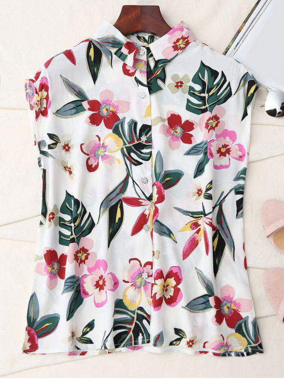 outfits Floral Sleeveless Button Up Shirt - WHITE L