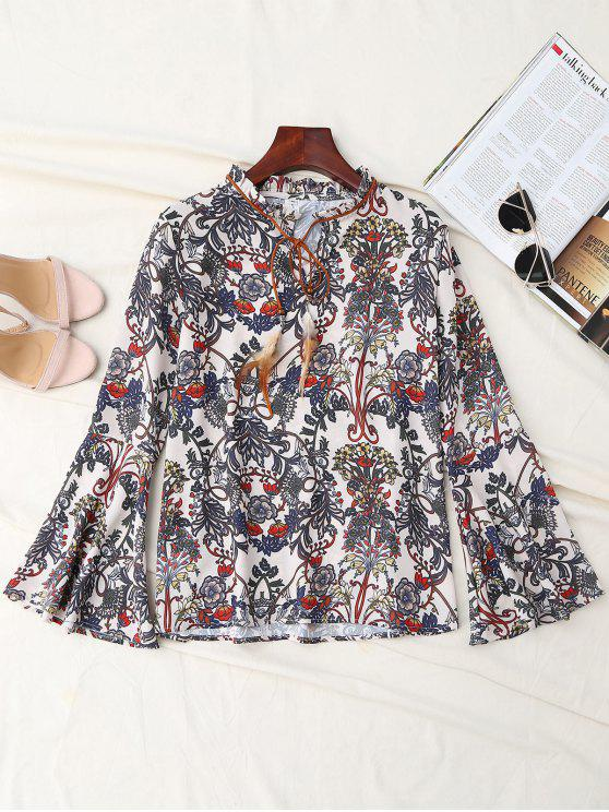 womens Print Bow Tie Feather Flare Sleeve Blouse - MULTICOLOR M