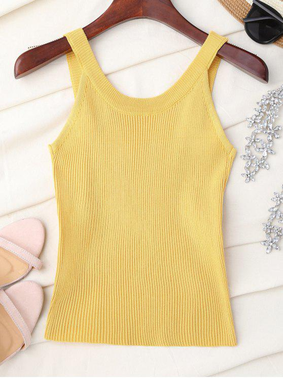 shops High Neckline Knitted Tank Top - YELLOW ONE SIZE