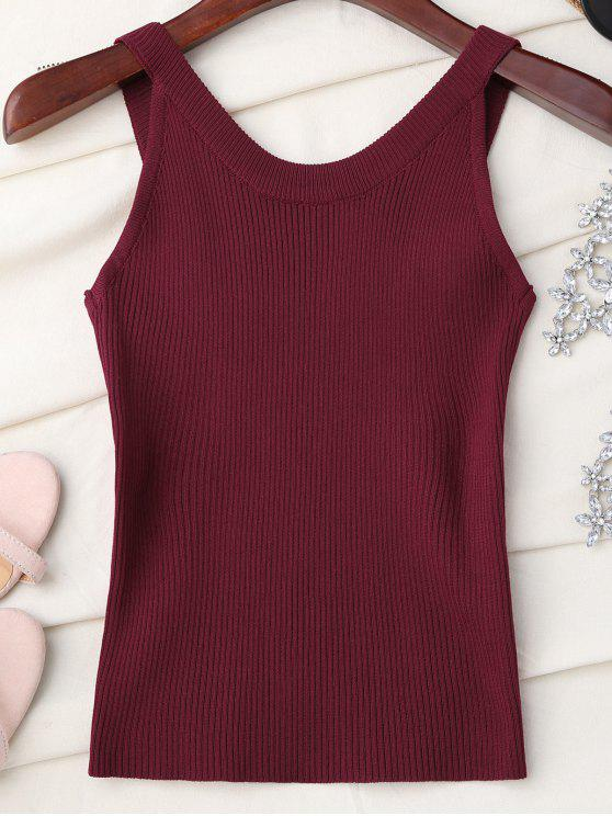 Cuello alto de punto sin mangas - Vino Rojo Única Talla