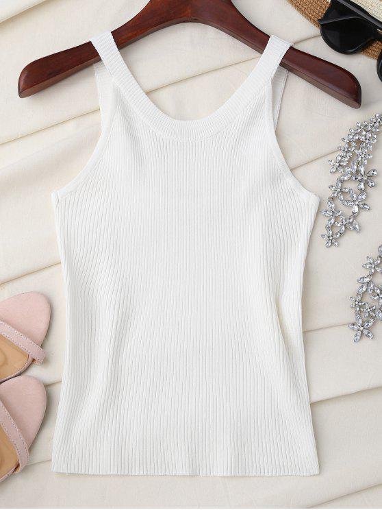 Cuello alto de punto sin mangas - Blanco Única Talla