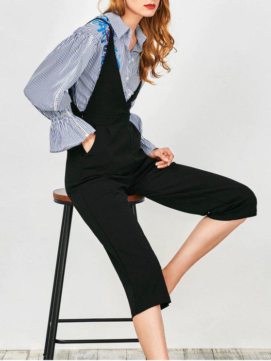 womens Cami Plunge Wide Leg Capri Jumpsuit - BLACK M