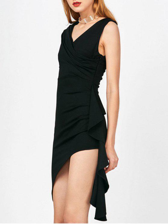 outfits Asymmetric Side Slit Ruffle Surplice Slinky Dress - BLACK L