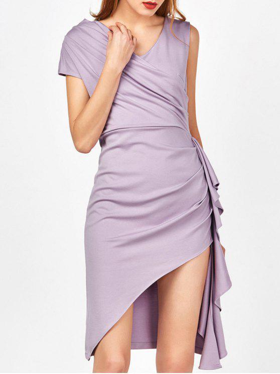 fashion Asymmetric Side Slit Ruffle Surplice Slinky Dress - LIGHT PURPLE M