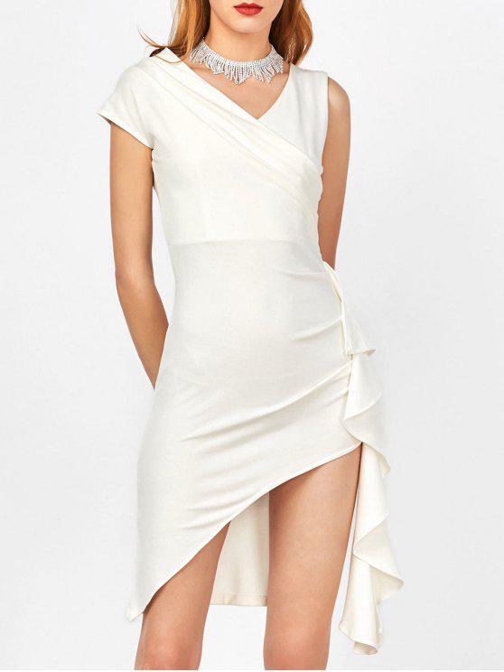 best Asymmetric Side Slit Ruffle Surplice Slinky Dress - WHITE S