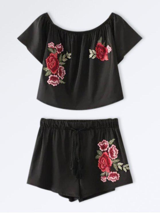 Conjuntinho Top e Shorts Curtos Com Bordado de Flores - Preto S