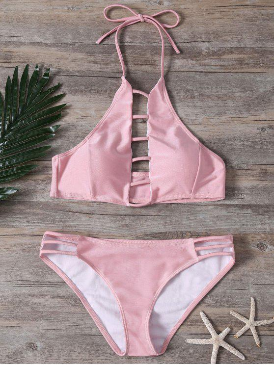 80e761b789 20% OFF] 2019 Ladder Cutout High Neck Bathing Suit In PINK | ZAFUL