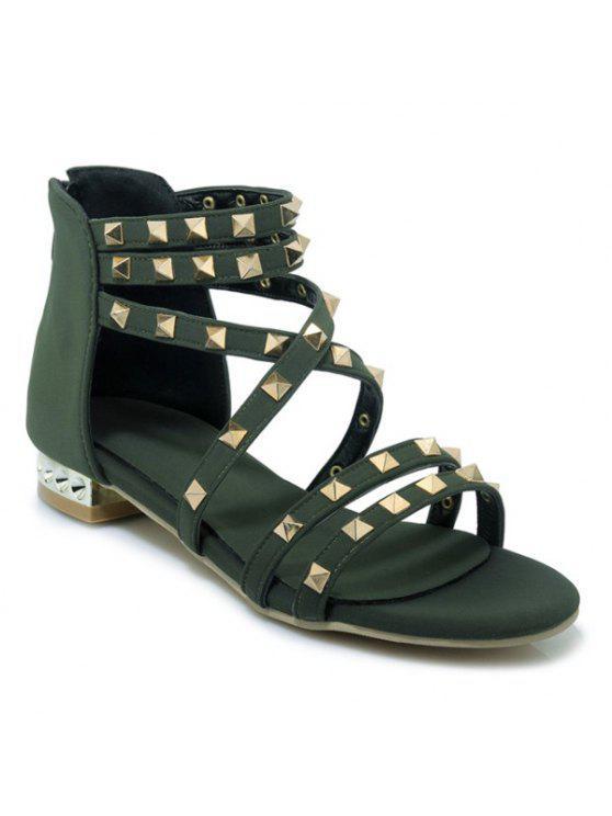 Sandales à rayures en métal - Vert Armée  39