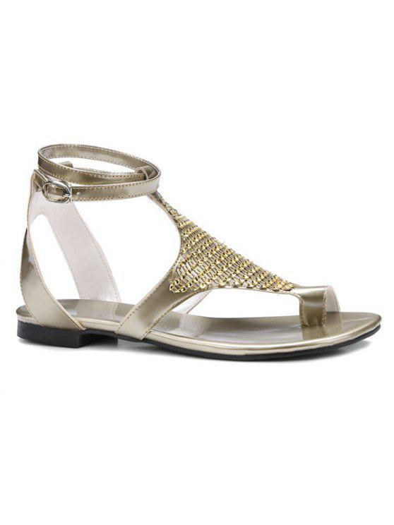 online Flat Heel Toe Ring Sandals - GOLDEN 37