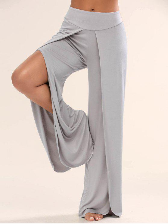Pantalons palazzo large avec fente haute - gris XL