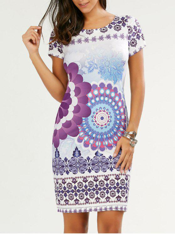 chic Knee Length Print Day Dress - FLORAL M